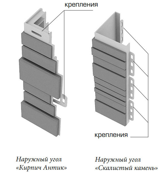 Наружные углы «Кирпич Антик» и  «Скалистый камень»