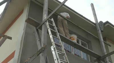 Нанесения фасадной штукатурки