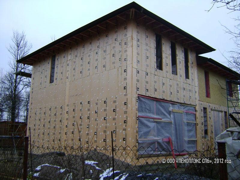 Фото — утепление фасада дома пеноплексом