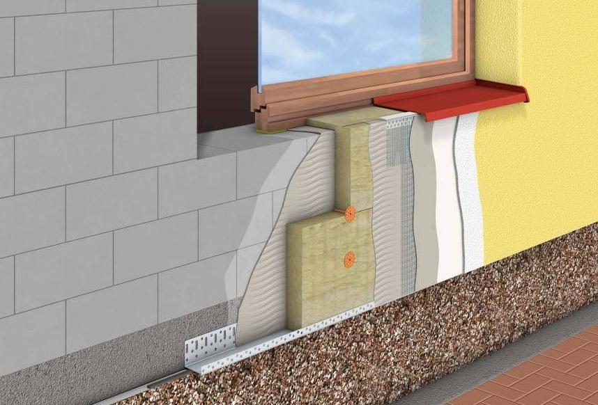 Схема утепления фасадов базальтовой ватой