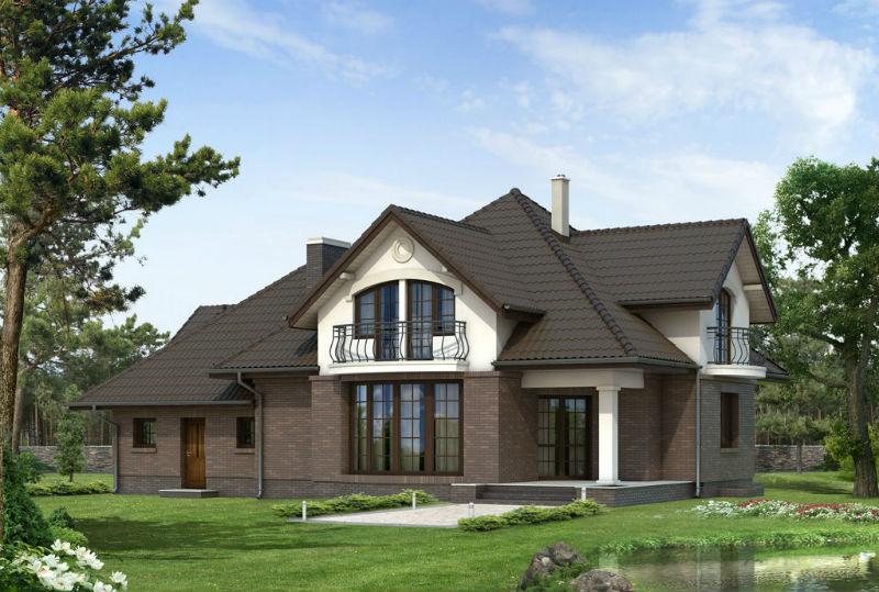 Фасад домов с мансардой фото
