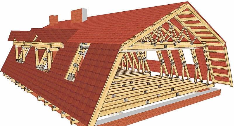 Ломаная крыша может быть покрыта любой кровлей