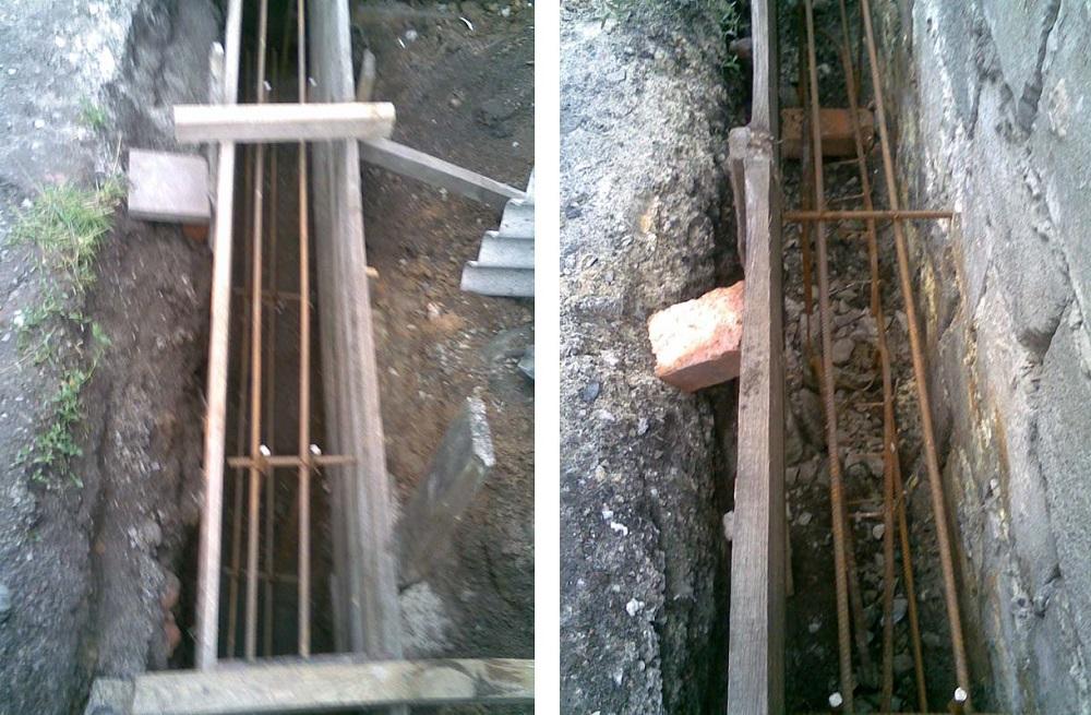 Ленточный фундамент под забор армируется
